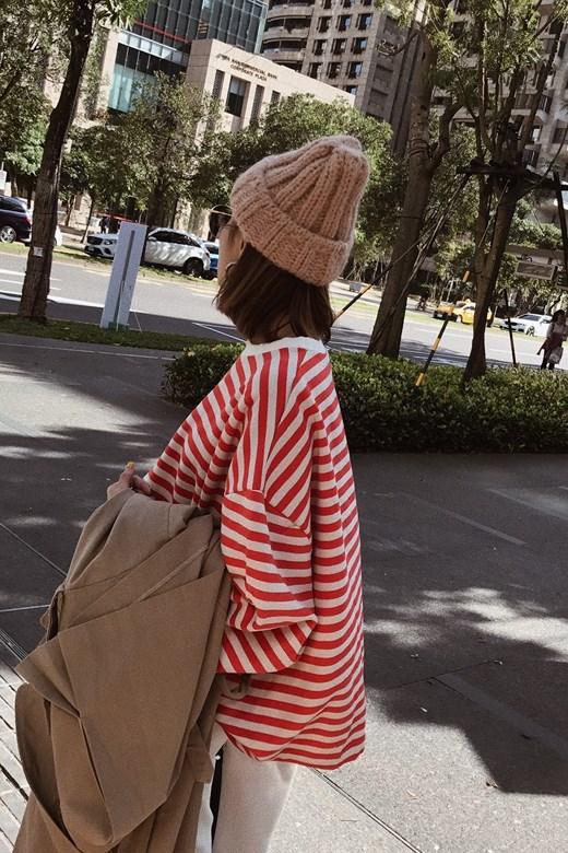 率性自然寬羅紋針織帽