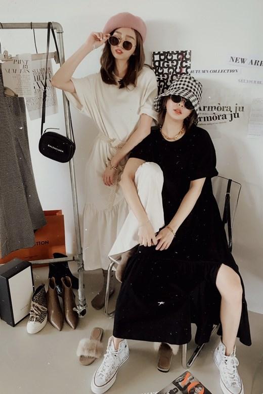 不規則荷葉襬短袖長洋裝