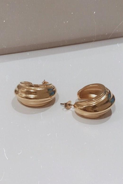 復古金線條圓弧形小c字耳環