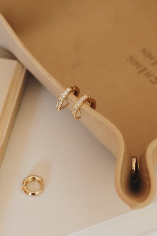 9mm鑲鑽小圈耳環