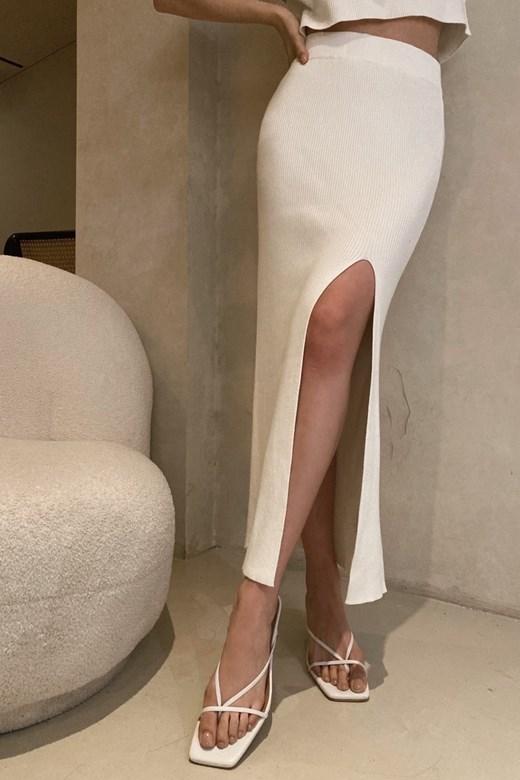 開岔彈力針織長裙