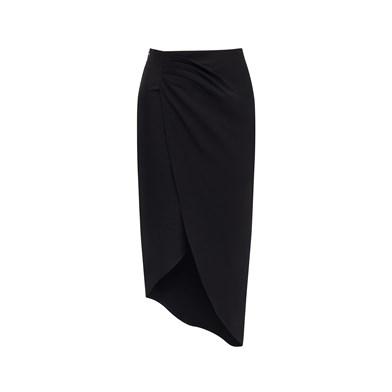 front-slit draped skirt