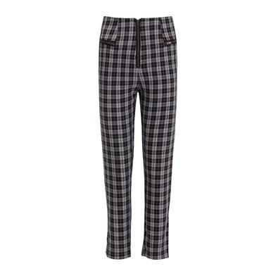 tartan-print tapered trousers
