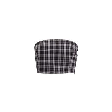 tartan-print corset top