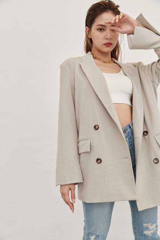 時髦質感墊肩西裝外套