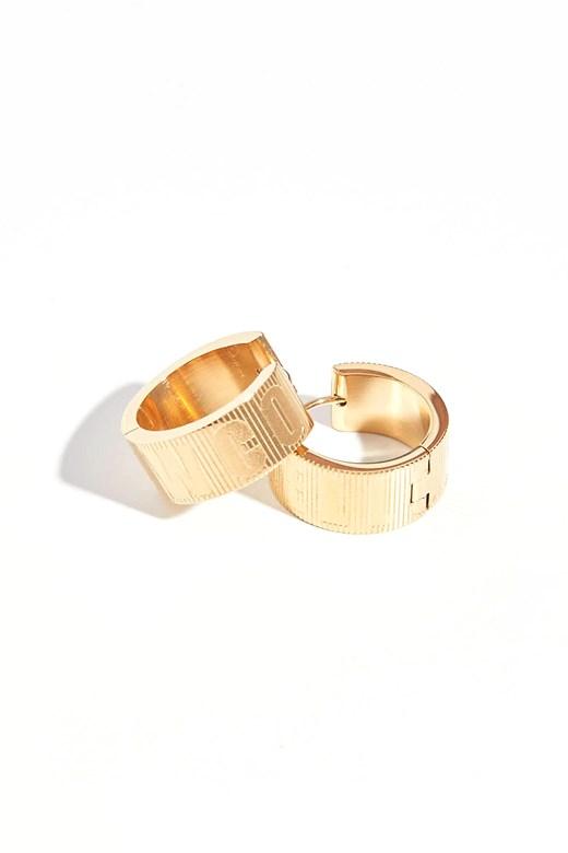 品牌雕紋圓形耳環(不鏽鋼鍍18K金)