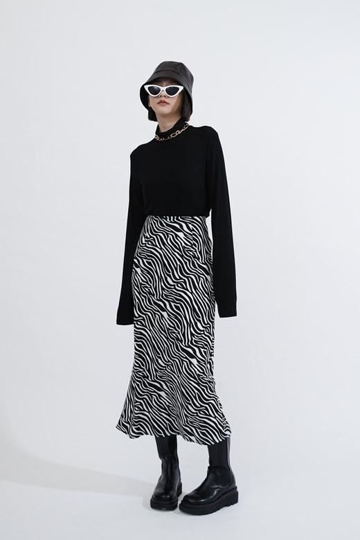 時髦斑馬紋修身長裙