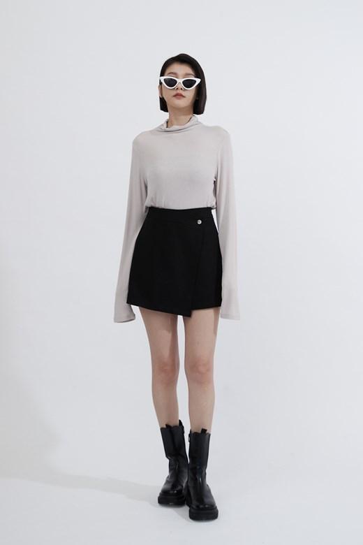 不對稱剪裁質感褲裙
