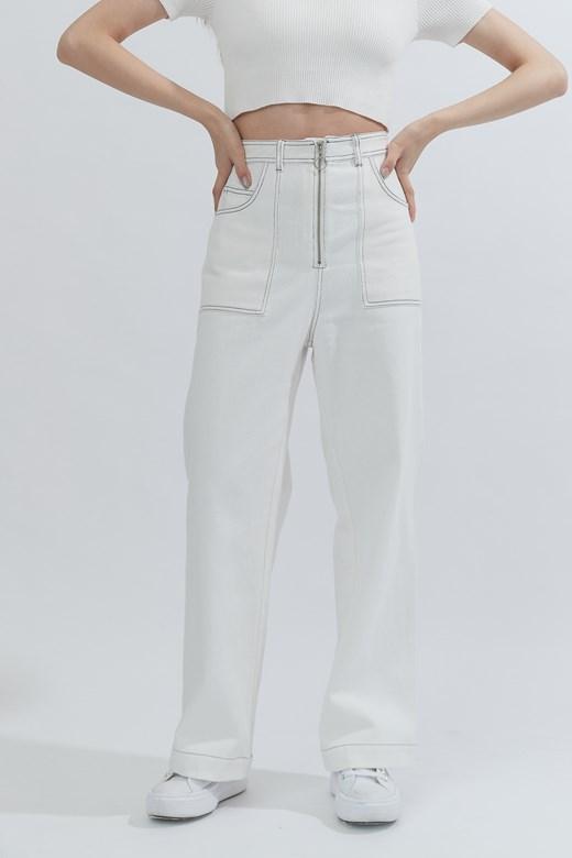 撞色縫線拉鍊寬褲