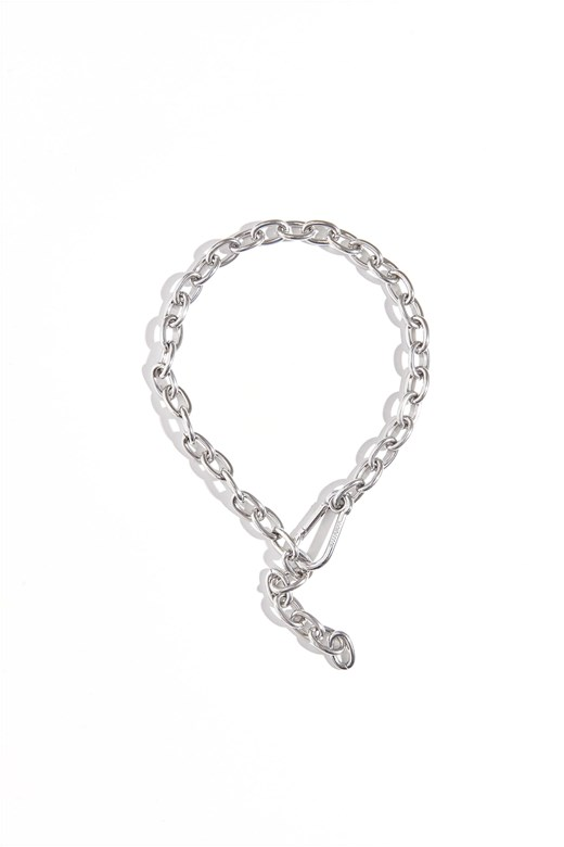 造型釦環鎖鍊項鍊(不鏽鋼原色)