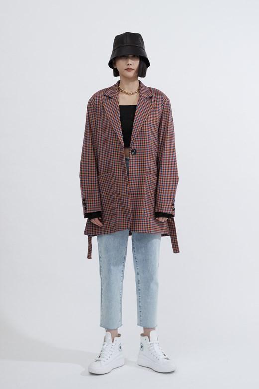 Boyfriend格紋綁帶西裝外套