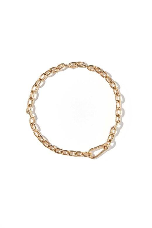 造型釦環鎖鍊項鍊(不鏽鋼鍍18K金)