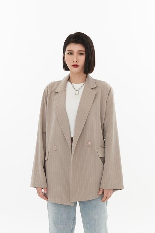歐美細直條西裝外套