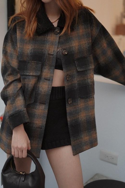 羊毛格紋毛毛領外套