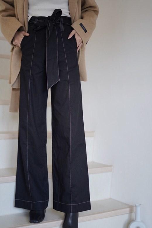 棉麻外縫線綁帶寬褲