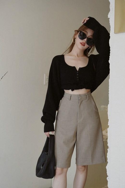 織紋微寬鬆西裝五分褲