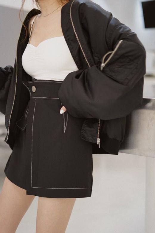 外縫線斜角高腰一片褲裙