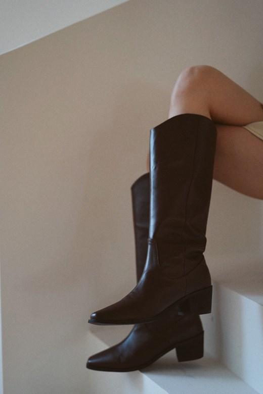 深咖中筒西部靴