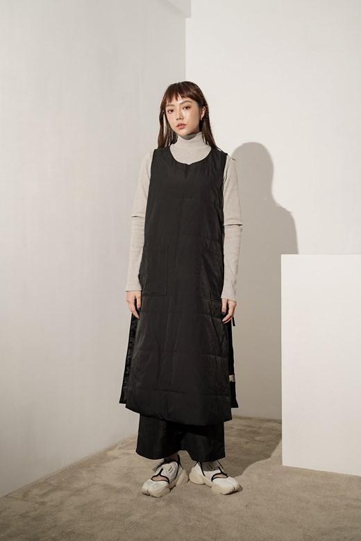 大口袋綁帶鋪棉背心裙