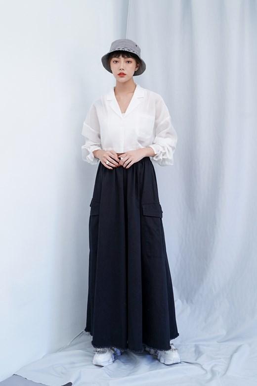 造型口袋抽鬚下擺長裙
