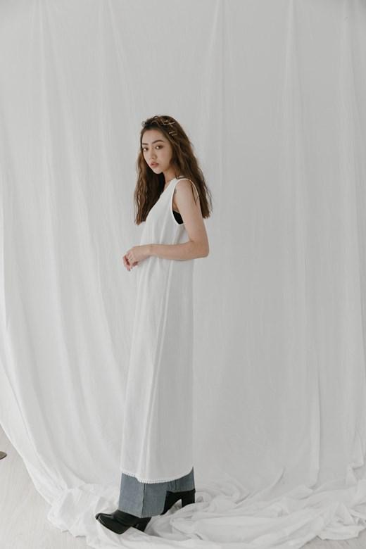 圈圈織帶點綴棉麻洋裝