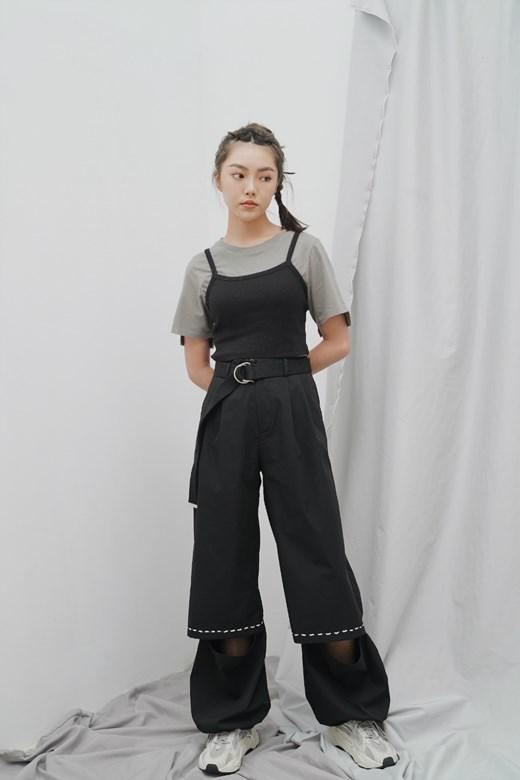 拼接穿繩設計壓褶寬褲