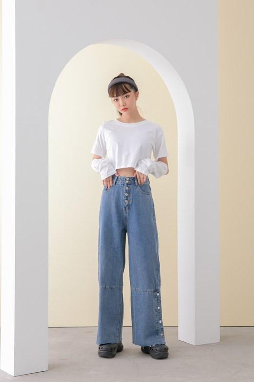 高腰排釦牛仔寬褲