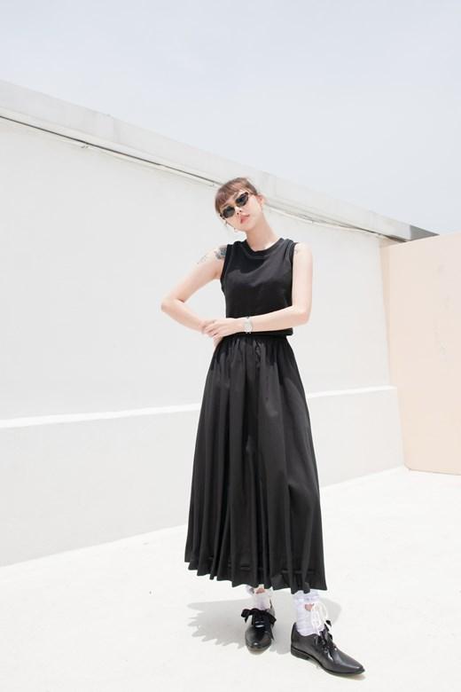 裙襬抽褶燈籠裙
