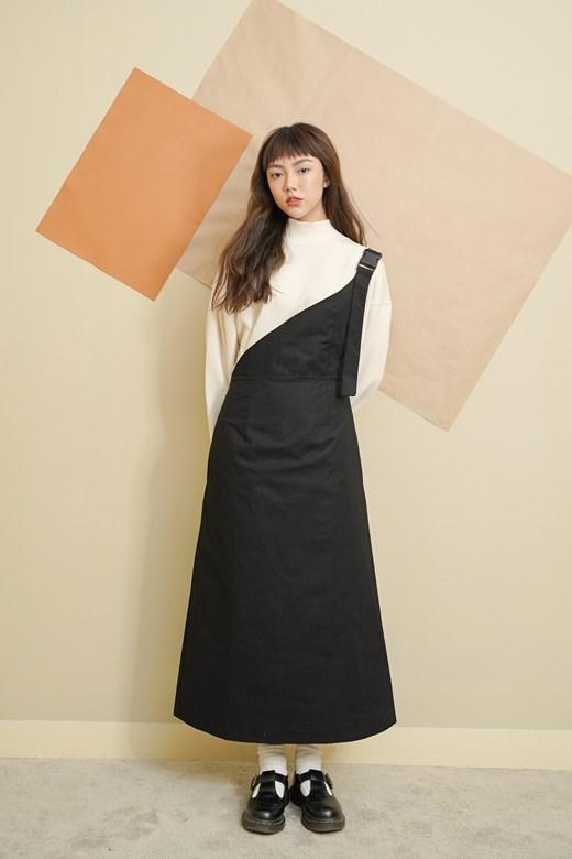 設計感斜肩吊帶裙