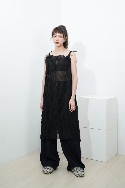 褶皺透紗裙