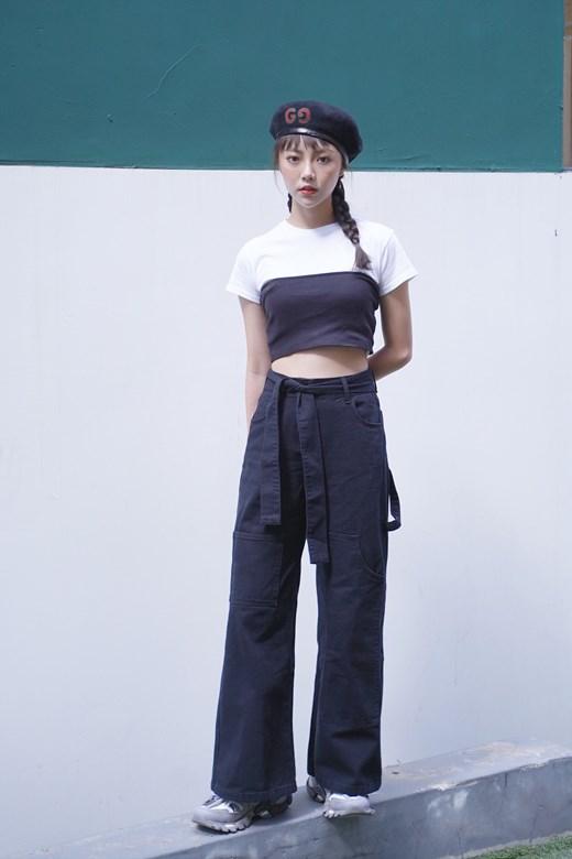 率性腰綁帶不對稱口袋造型寬褲