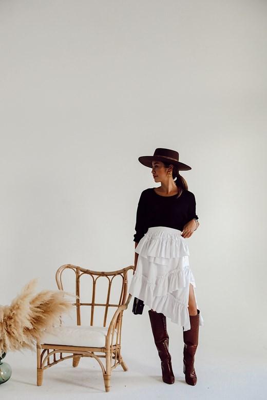 棉麻多層次荷葉短裙