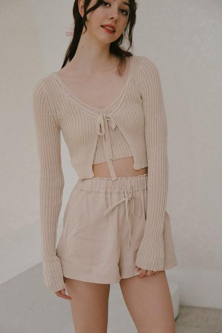 荷葉鬆緊縮腰設計棉麻短褲