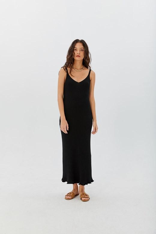 極簡感坑條V領針織背心洋裝