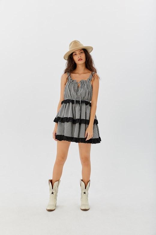 皺皺格紋棉麻洋裝