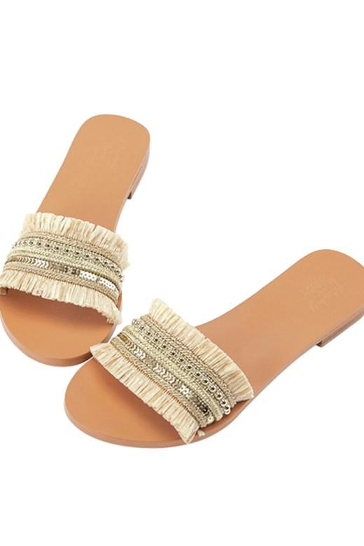 聯名異材質編織寬版涼拖鞋