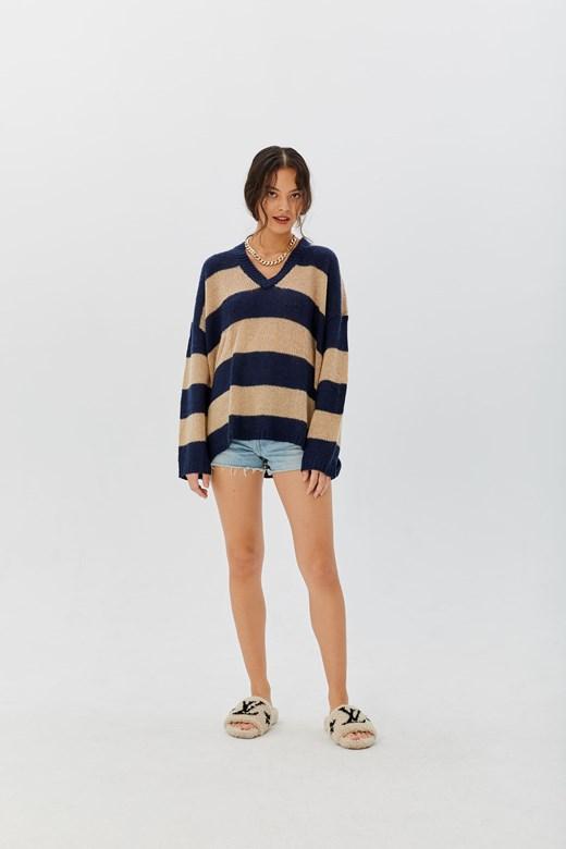 配色條紋羊駝毛針織
